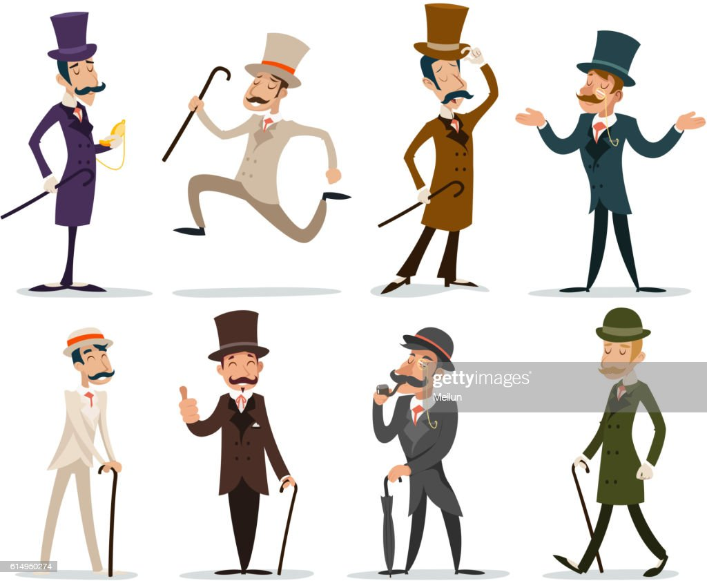 Gentleman Victorian Business Cartoon Character Icon Set English Isolated Background
