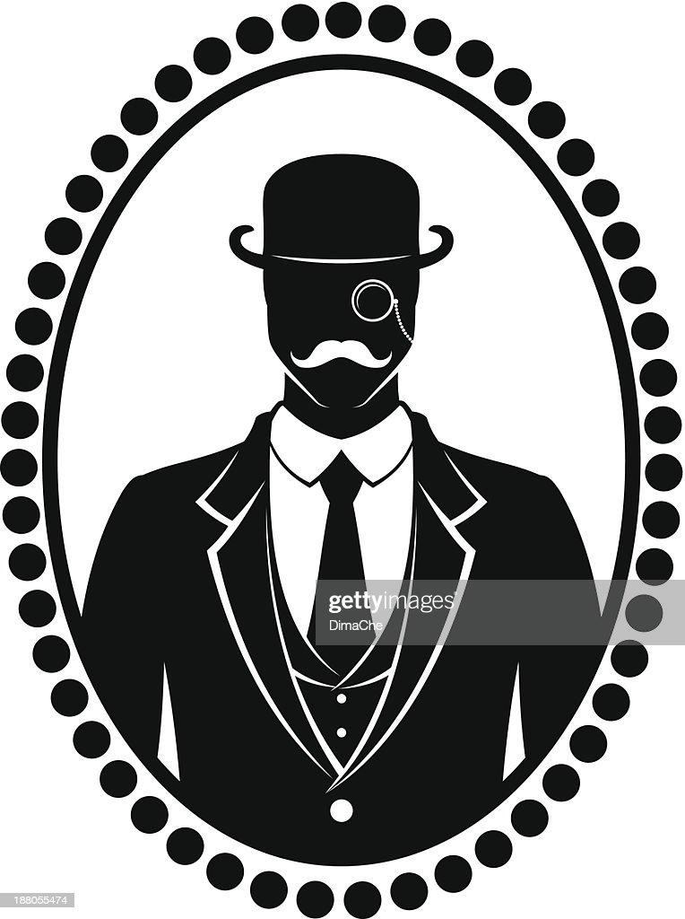 bowler hat vector art and graphics 1880s Hair gentleman with mustache
