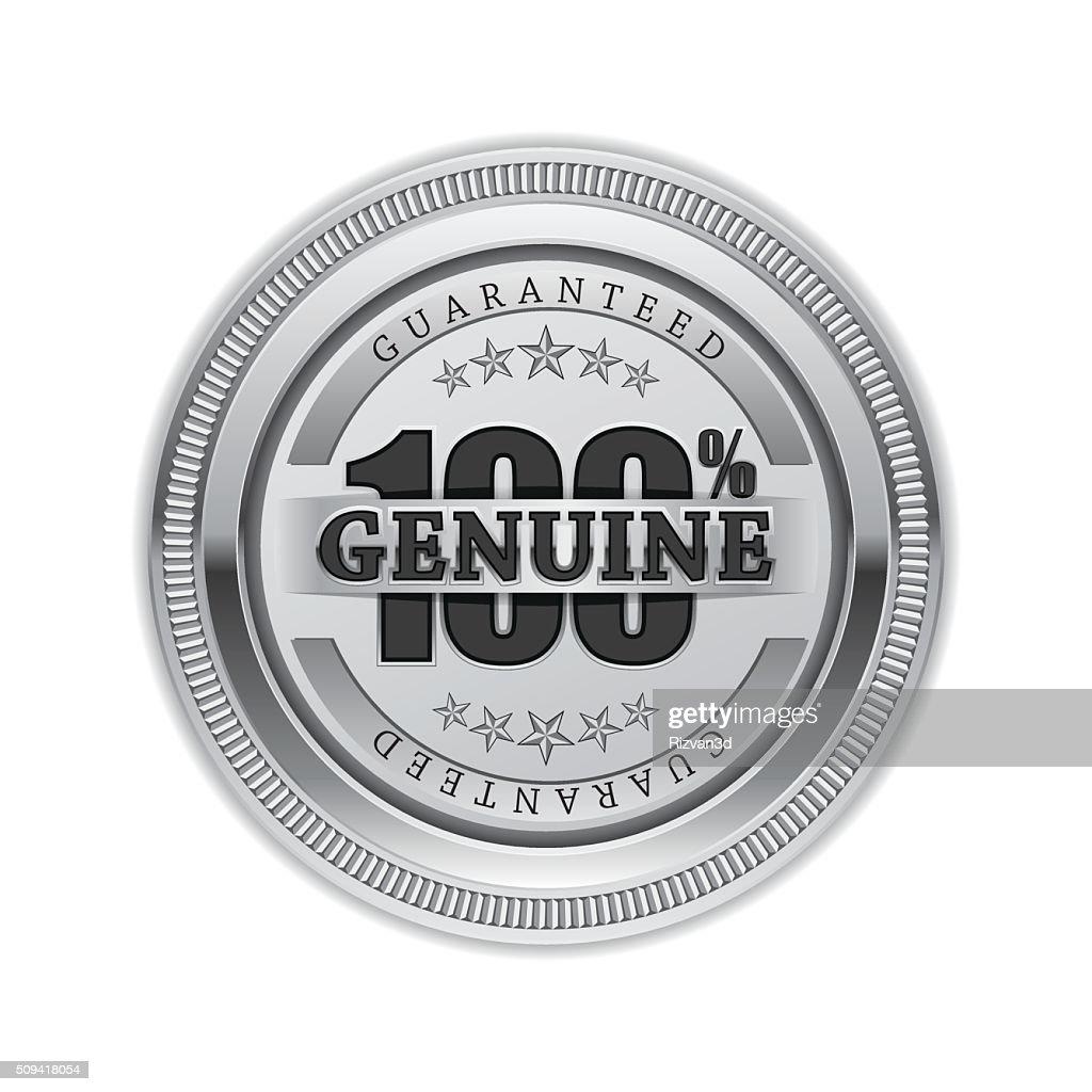 Genuine Quality Silver Seal Vector Icon Design
