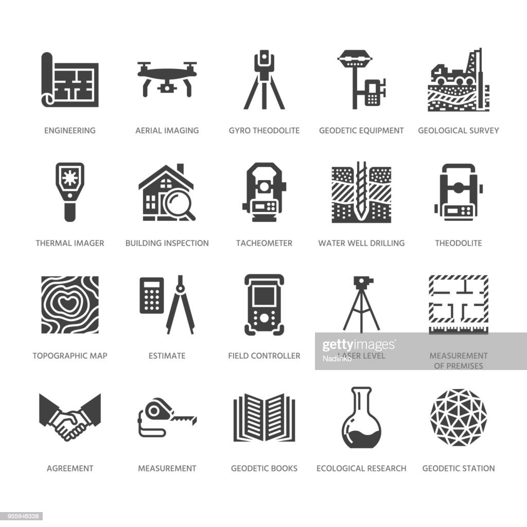 Geodetic survey engineering vector flat glyph icons. Geodesy equipment, tacheometer, theodolite. Geological research, building measurements. Construction signs. Solid silhouette pixel perfect 64x64