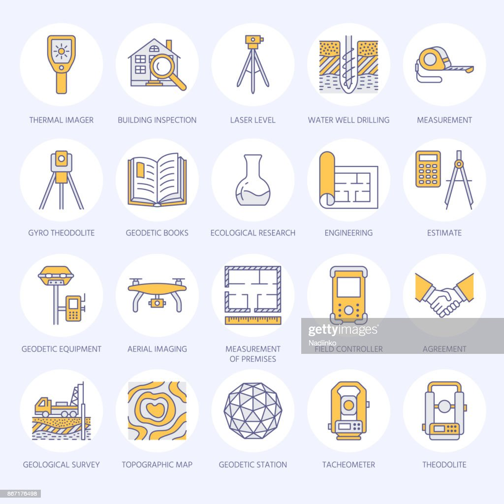 Geodetic survey engineering vector flat line colored icons. Geodesy equipment, tacheometer, tripod. Geological research, building measurement inspection illustration. Construction service signs