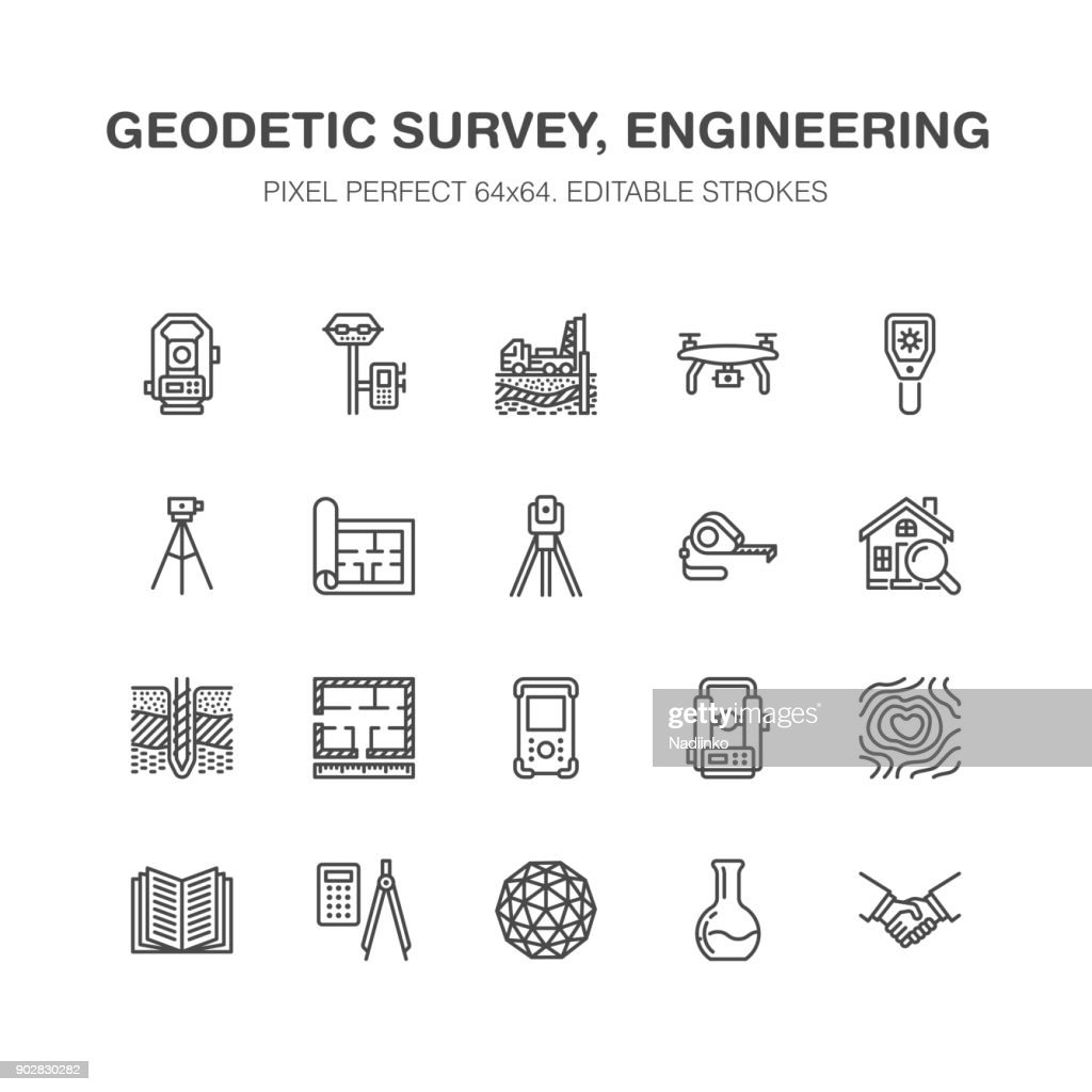 Geodetic survey engineering vector flat line icons. Geodesy equipment, tacheometer, theodolite, tripod. Geological research, building measurements. Construction service signs. Pixel perfect 64x64