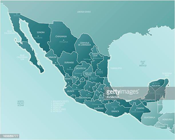 A geographical map of Mexico showing its many cities