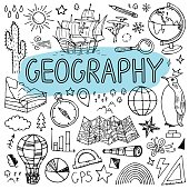 Geography hand drawn doodles. Vector back to school illustration.