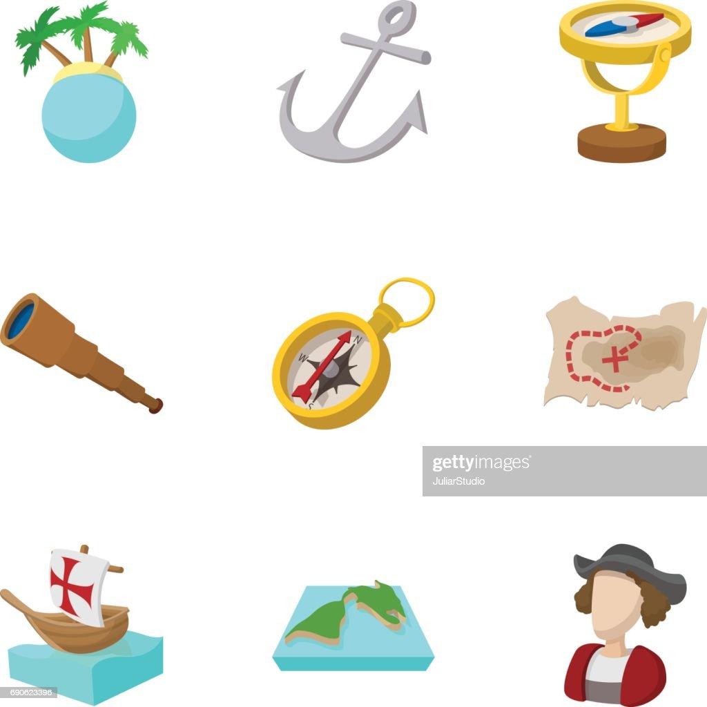 Geography icons set, cartoon style