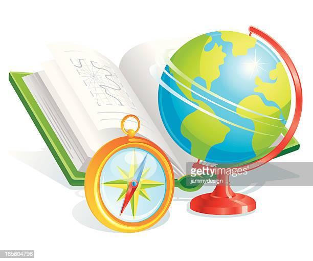 illustrazioni stock, clip art, cartoni animati e icone di tendenza di geografia simboli di - mappamondo
