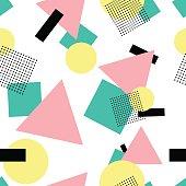 Geometric 80s fashion style seamless pattern