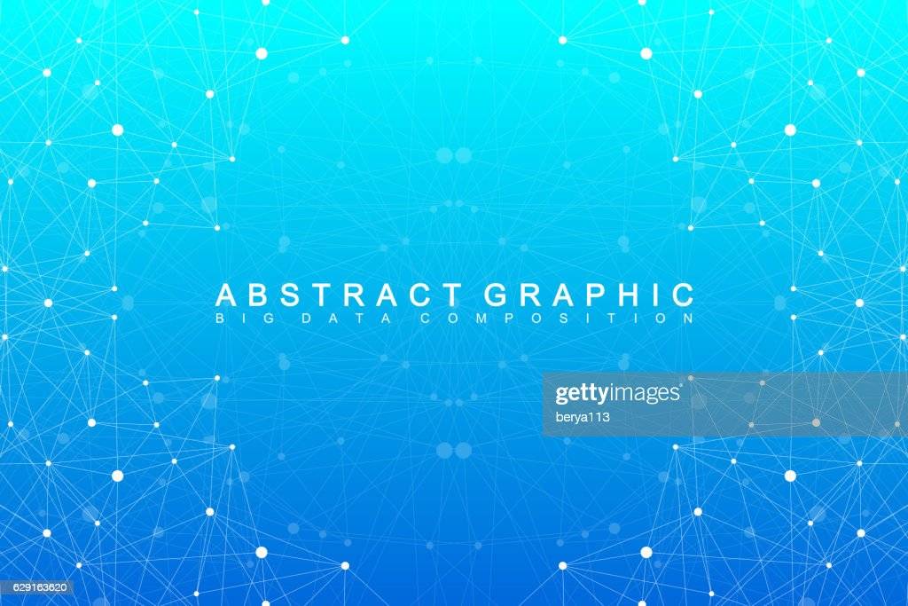 Geometric abstract background with connected line and dots. Vector illustration.