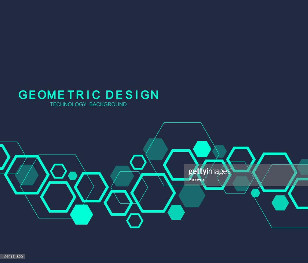 Geometric abstract molecule background for medicine, science, technology, chemistry. Scientific DNA molecule concept. Vector hexagonal illustration