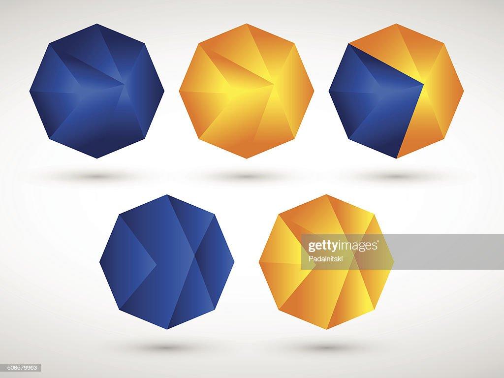 Géométrique abstrait Polygone Ensemble d'icônes : Clipart vectoriel