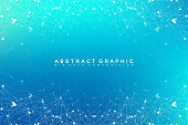 Geometric abstract vector with connected line and dots. Global network connection background. Technological sense abstract illustration