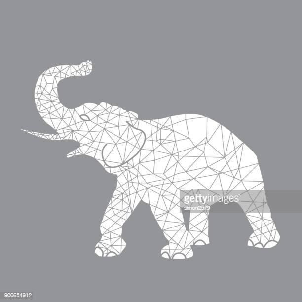 ilustraciones, imágenes clip art, dibujos animados e iconos de stock de esquema geométrico animal elefante - biodiversidad