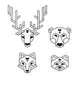 Geometric animal heads