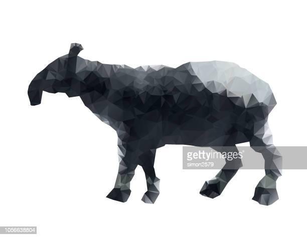 geometric animal malayan tapirs outline - animal body stock illustrations, clip art, cartoons, & icons