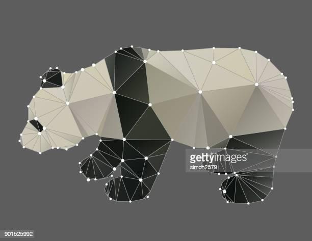 geometric animal panda outline - animal body stock illustrations, clip art, cartoons, & icons