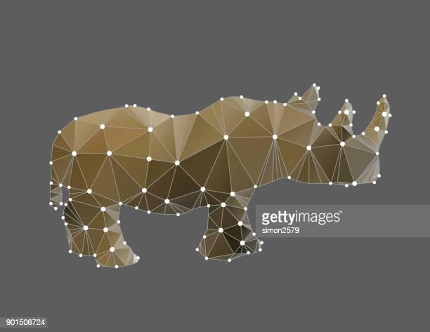 ilustraciones, imágenes clip art, dibujos animados e iconos de stock de esquema de animales rinoceronte geométrica - biodiversidad