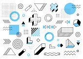 Geometric background. Universal trend halftone geometric shapes set juxtaposed with blue elements composition. Modern vector illustration