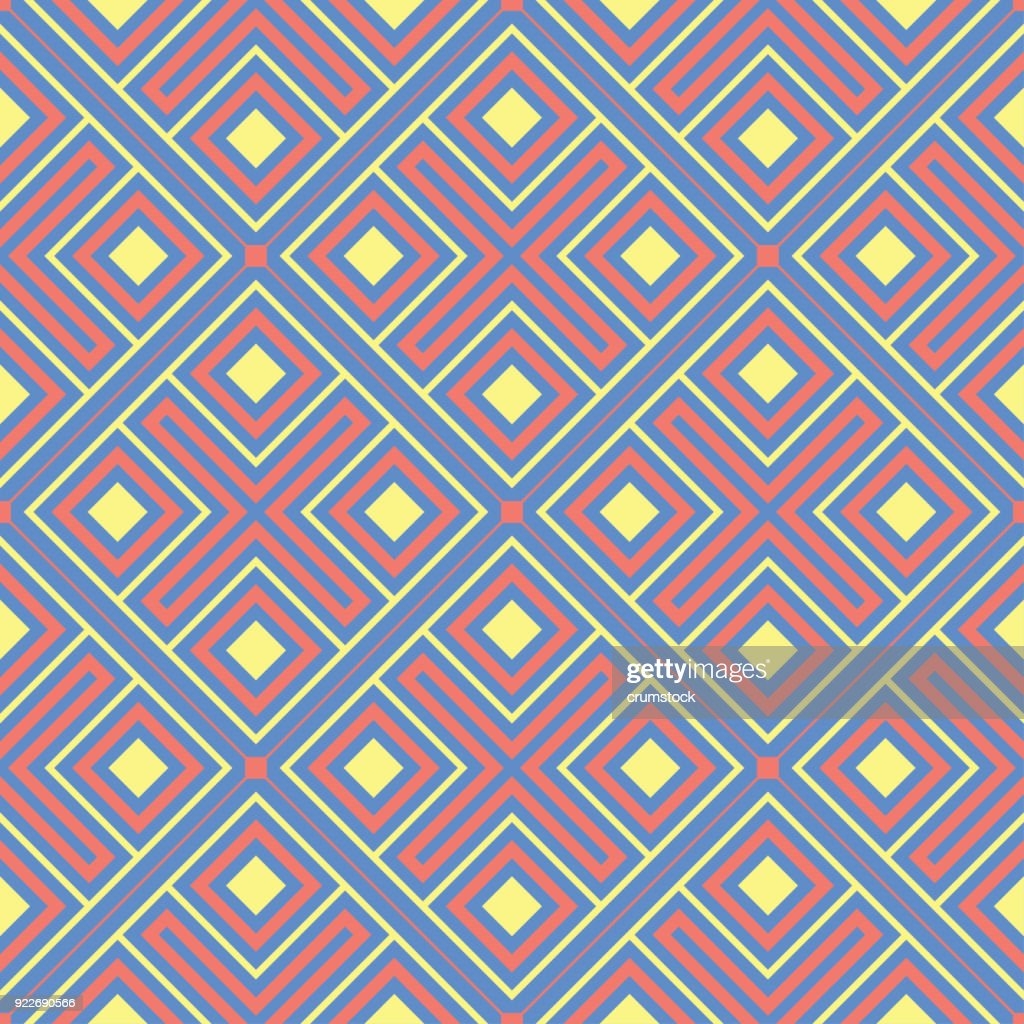 Geometric blue seamless pattern. Multi colored background with red and yellow design