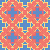 Geometric bright multi colored seamless background. Blue and beige elements on orange background