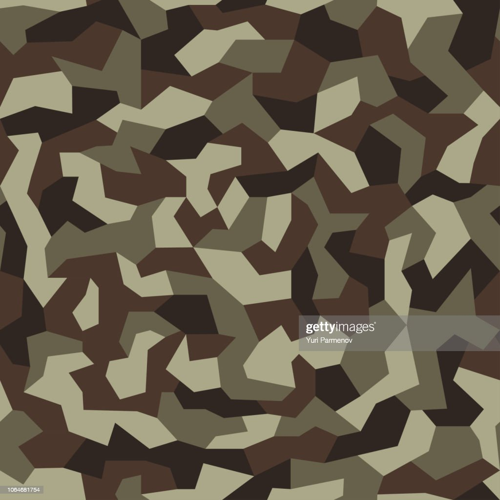 Geometric camo, seamless pattern. Abstract military or hunting camouflage background. Brown, green, black color. Vector illustration.