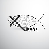 Geometric Christian Fish Cross and Ixoye