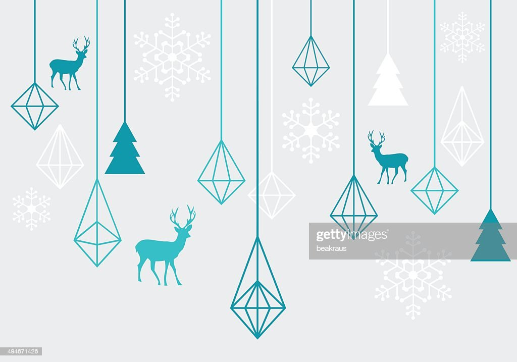 Geometric Christmas ornaments, vector