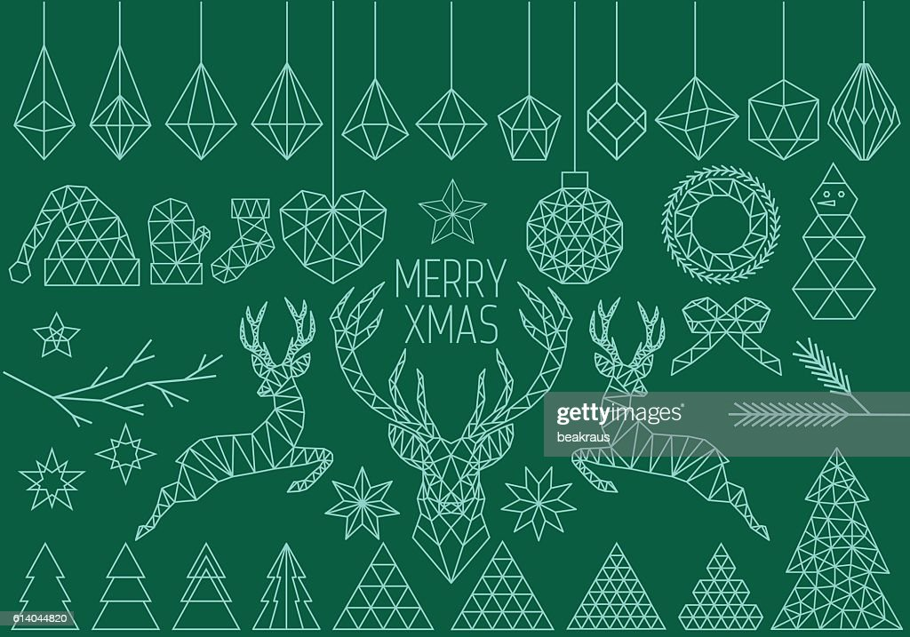 Geometric Christmas set, vector