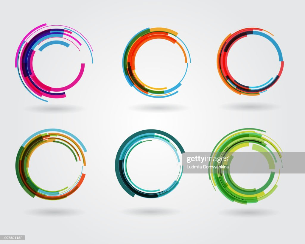 Geometric circle entwined wheels. Business abstract icon. As sign, symbol, logo, web, label