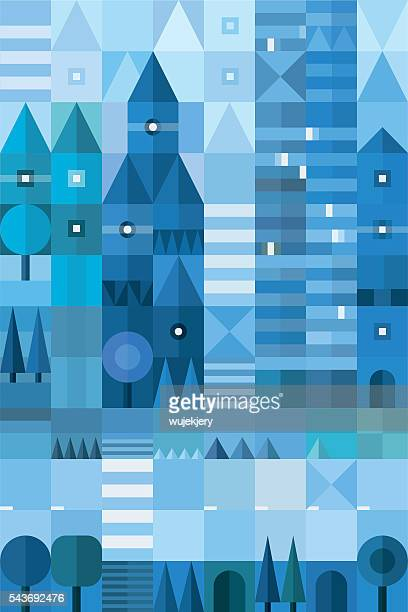 geometric cityscape. vector illustration - zebra crossing stock illustrations