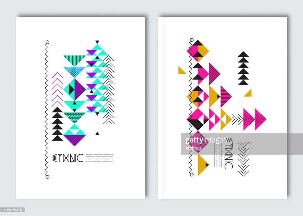 Geometric colorful ethnic flyers.