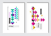 Geometric colorful ethnic flyers.