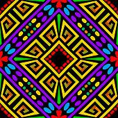 Geometric colorful greek vector seamless pattern. Modern bright ornamental tribal background. Ethnic style geometrical multicolor backdrop. Greek key meanders ornament. Beautiful trendy ornate design