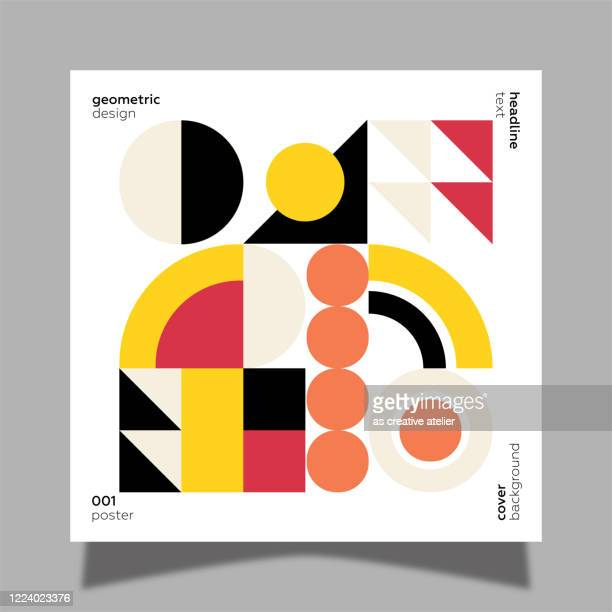 illustrazioni stock, clip art, cartoni animati e icone di tendenza di geometric colorful vector pattern. trendy geometric elements. retro poster design. - prima pagina di rivista