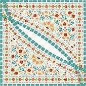 Geometric corner frame pattern ethnic tile colorful background v