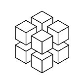 Geometric cube of 8 smaller isometric cubes. Abstract design element. Science or construction concept. Black outline 3D vector object