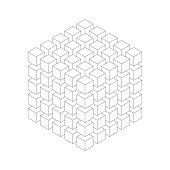Geometric cube of smaller isometric cubes. Abstract design element. Science or construction concept. Black outline 3D vector object