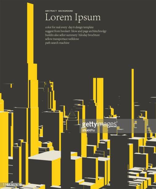 illustrazioni stock, clip art, cartoni animati e icone di tendenza di geometrico stile cubo città costruzione modello poster sfondo - paesaggio urbano