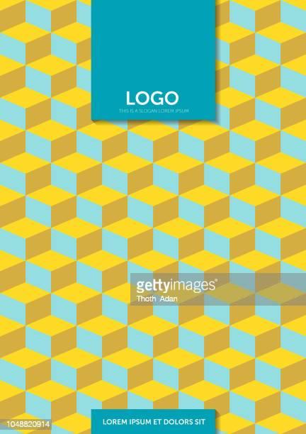 geometric cubes – cover template design (geometric minimalism set) - vertical stock illustrations