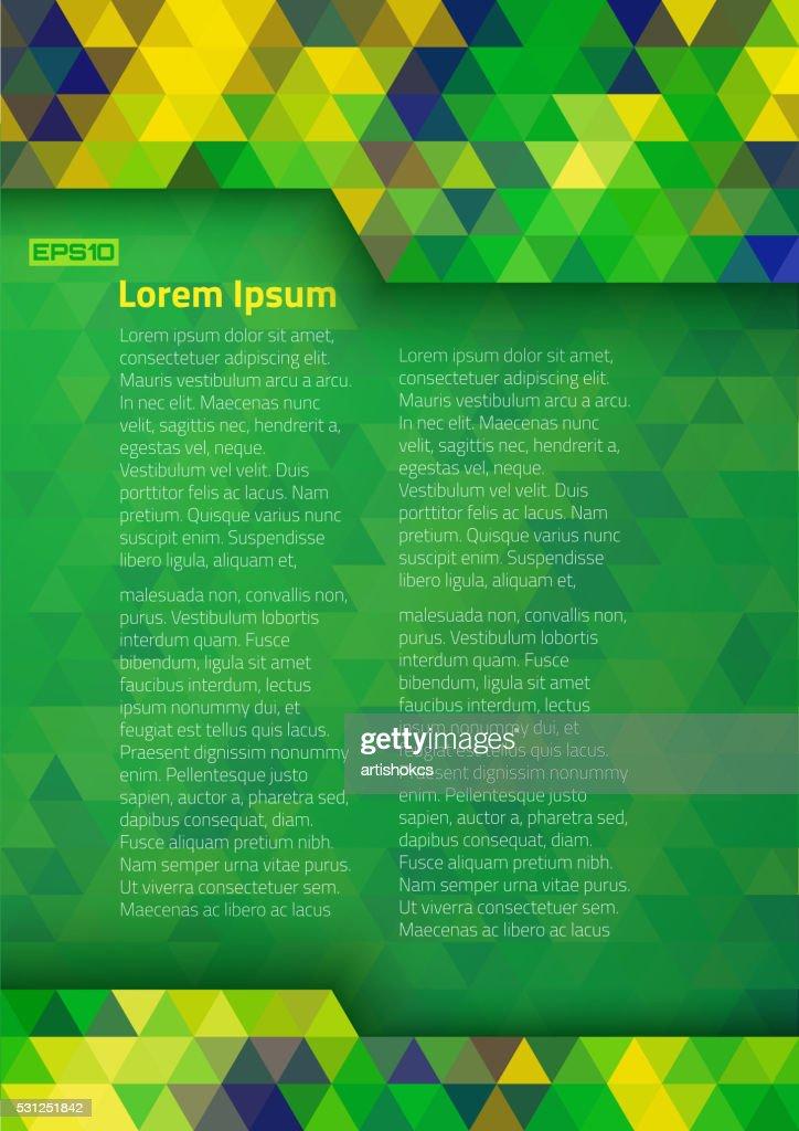 Geometric digital background Brazil 2016 flag colors, vector A4 format.