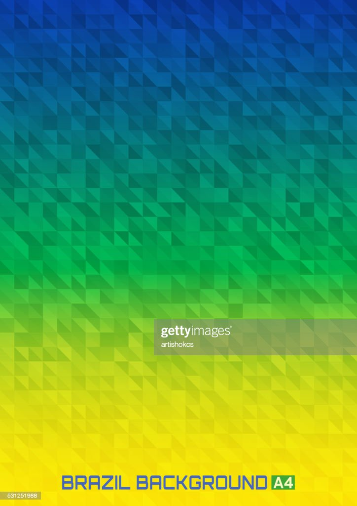 Geometric digital background Brazil 2016 flag colors, vector A4 format.