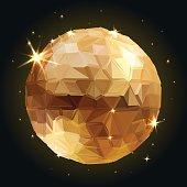Geometric Disco ball Isolated. Holidays Background