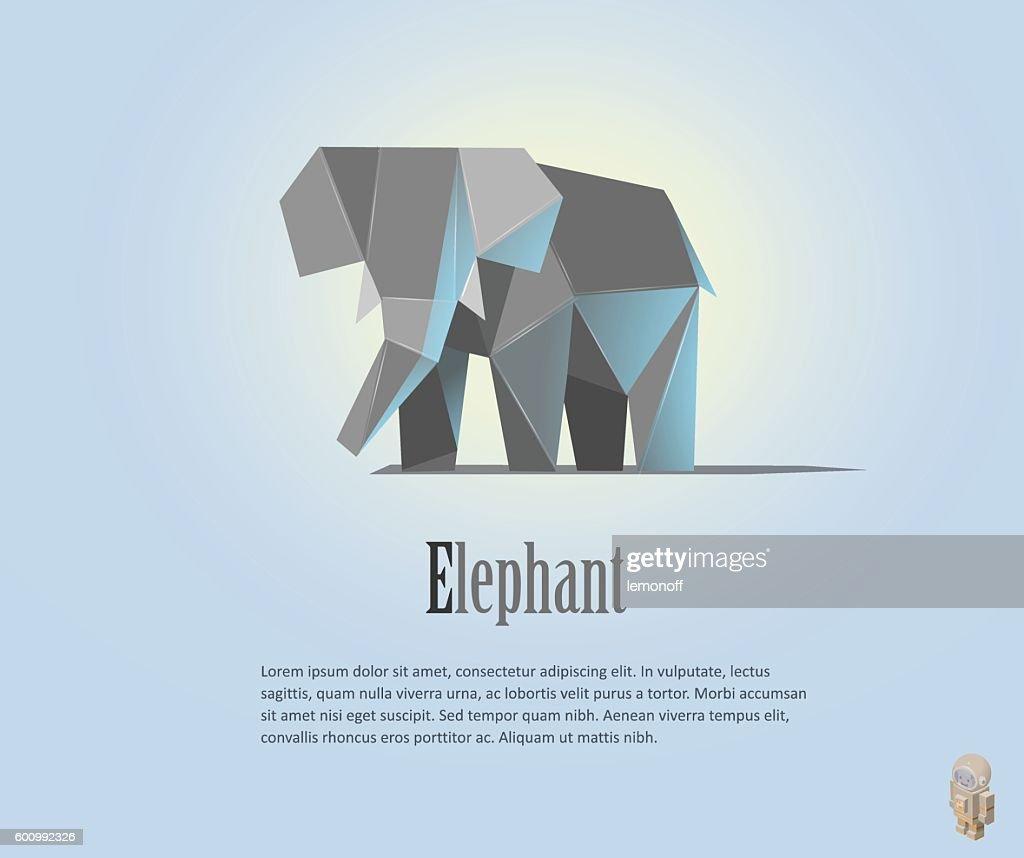Geometric elephant illustration in polygonal style.  low poly. Animal triangle
