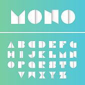 Geometric font. Vector alphabet with gradient effect letters stylized colorful bright font and alphabet.