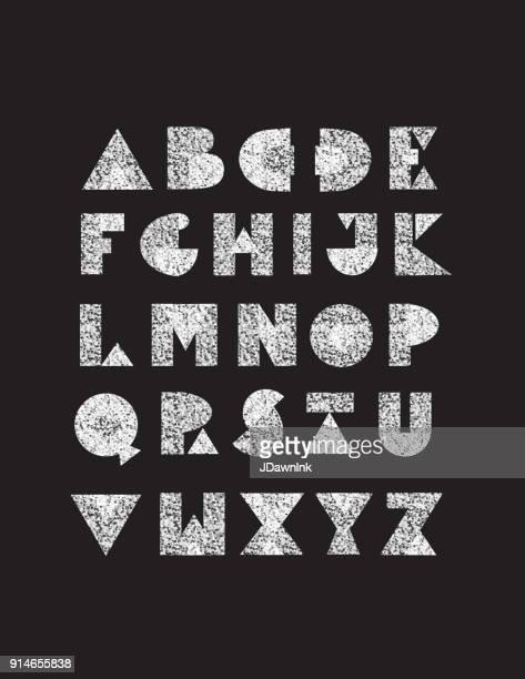 Geometric glitter hand drawn alphabet capital letters set