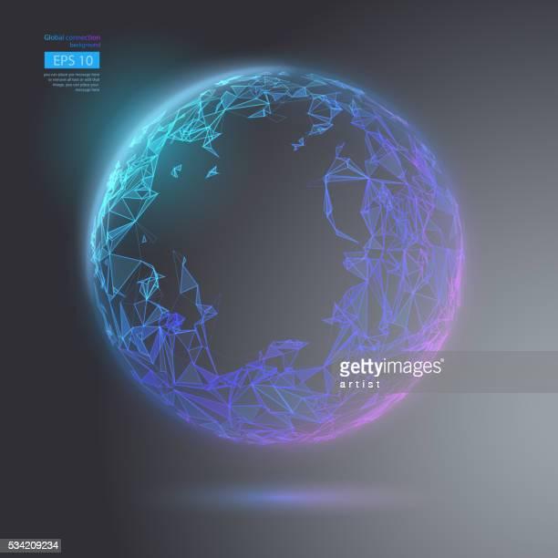 geometric globe - node data stock illustrations