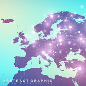 Geometric graphic background communication with Europe Map. Big data complex with compounds. Perspective backdrop. Minimal array. Digital data visualization. Scientific cybernetic vector illustration