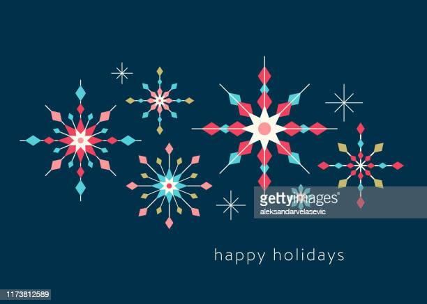 geometric graphic snowflake holiday background - greeting card stock illustrations