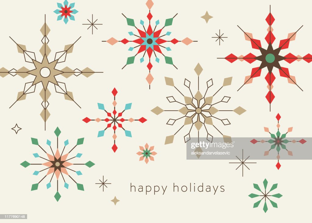 Geometrische grafische sneeuwvlok vakantie achtergrond : Stockillustraties