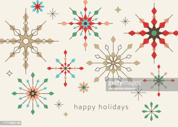 geometric graphic snowflake holiday background - retro style stock illustrations