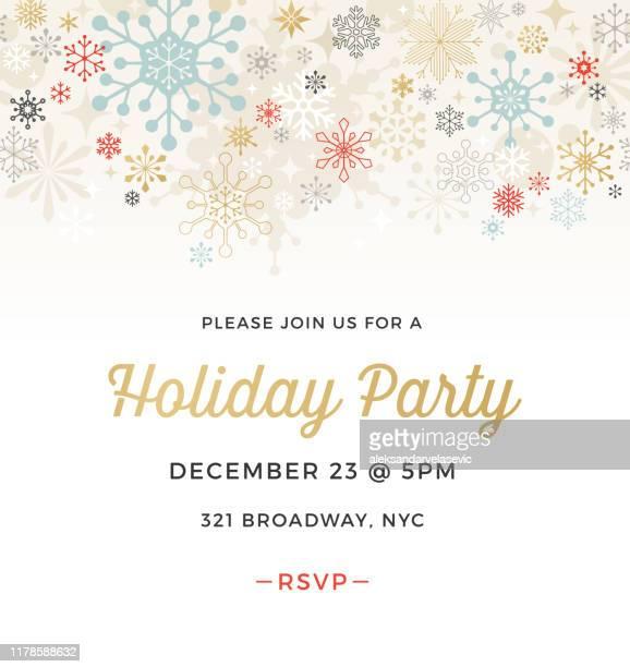 geometrische grafik schneeflocke urlaub party einladung - einladungskarte stock-grafiken, -clipart, -cartoons und -symbole